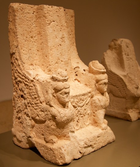 "Palm tree, tree of life, representing the fertility provided by Astarte. Situated between the two winged sphinx guarding her ""empty"" throne. Close-up of winged sphinx. Hellenistic period. Don Michael Hudson, PhD National Museum of Beirut Beirut, Lebanon"