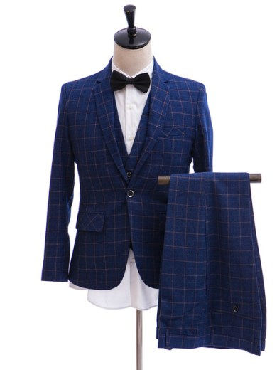 2018 Suits & Blazer Wedding Men Suit(Jacket+Pants+Vest) Slim Fit Plaid Classic Single Breasted Business Fashion Navy Blue Suit