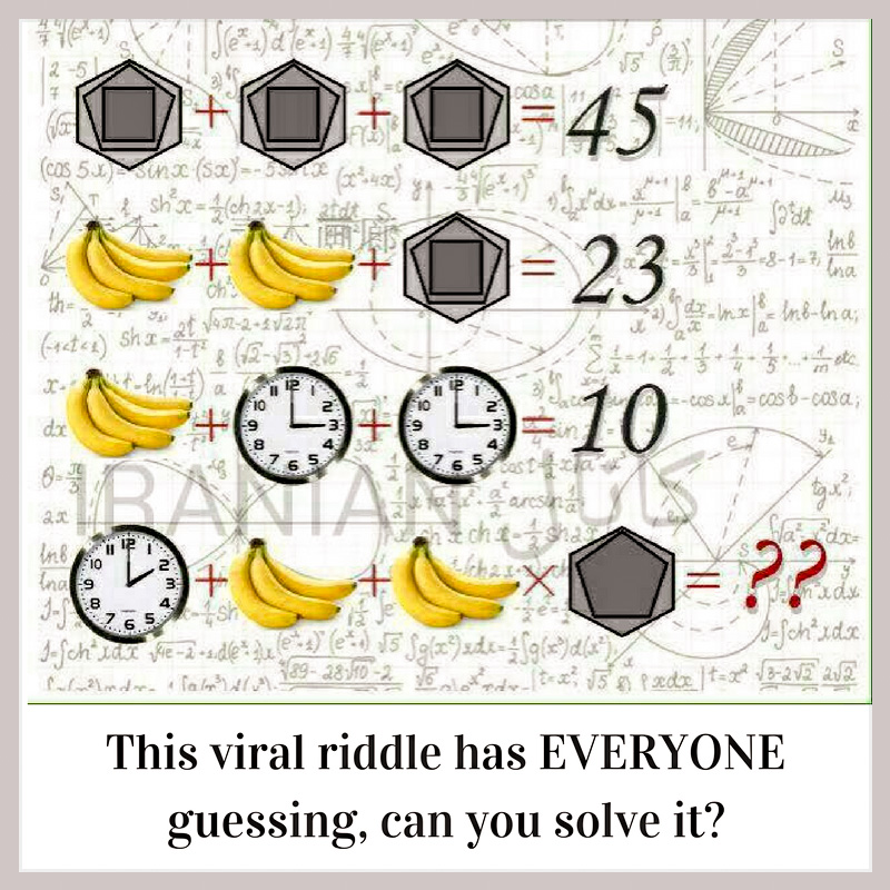 Viral riddle, can you solve it? Bananas and clocks
