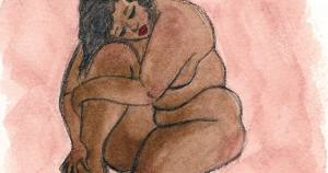 Illustration of woman hugging her body