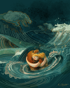 Painting fo woman and man hugging in a stormy sea