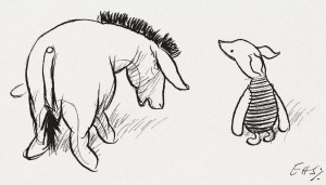 A A Milne drawing of Eeyore and Piglet