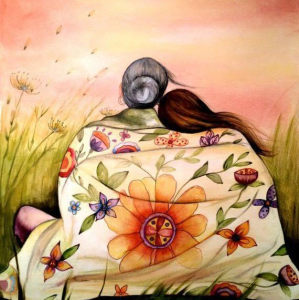 PAINTING BY CLAUDIA TREMBLy mother and daughter facing sunset