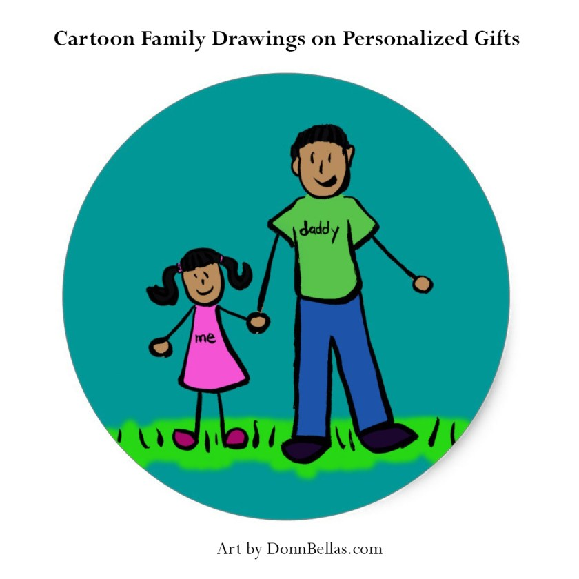Cartoon Family Drawings Personalized Families Custom Gifts