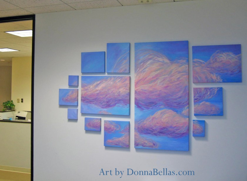 Cloud Art Installation Office Painting by DonnaBellas.com