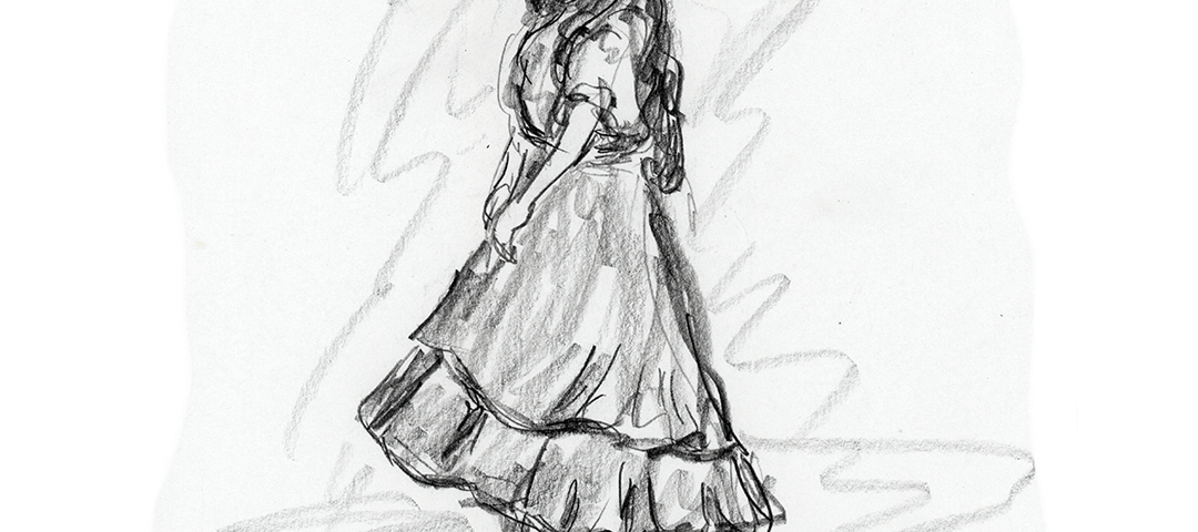 "Pencil sketch drawing of opera ""Carmen"" from San Diego Opera's Artist Night"