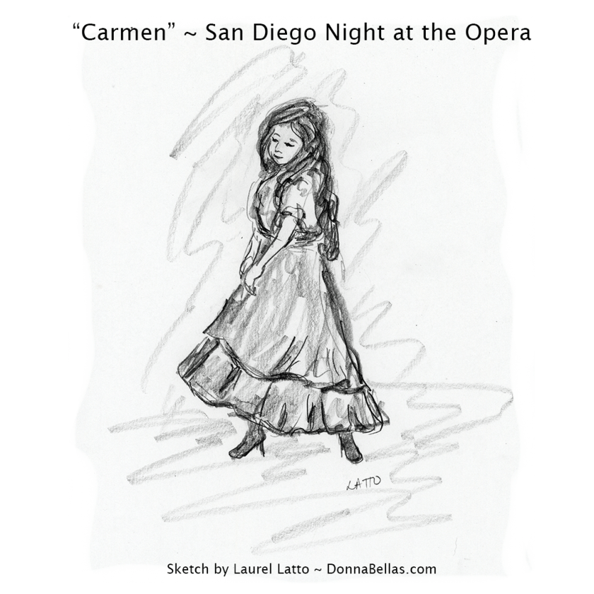 "Carmen, A Gypsy Girl ~ Pencil sketch drawing of opera ""Carmen"" from San Diego Opera's Artist Night"
