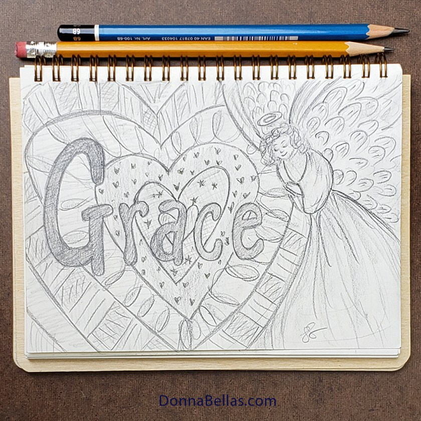 Heart with Grace Guardian Angel Art Drawing Pencil Sketchbook