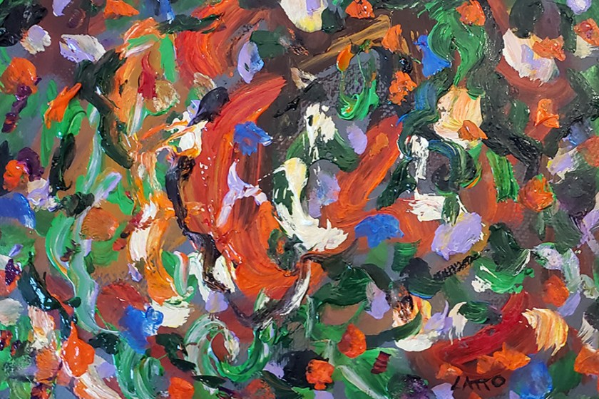 Abstract Painting 09 on Colored Paper with Wet Paint