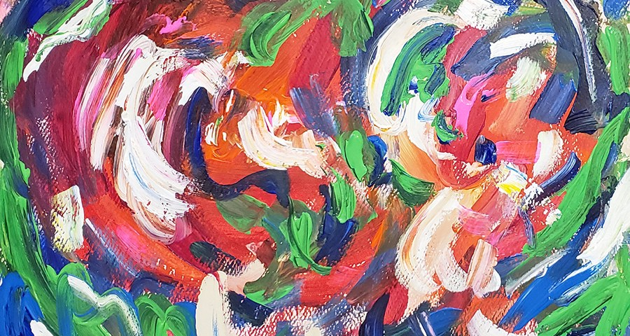 Abstract Art Painting 23 on Pink Colored Paper (Wet Paint)