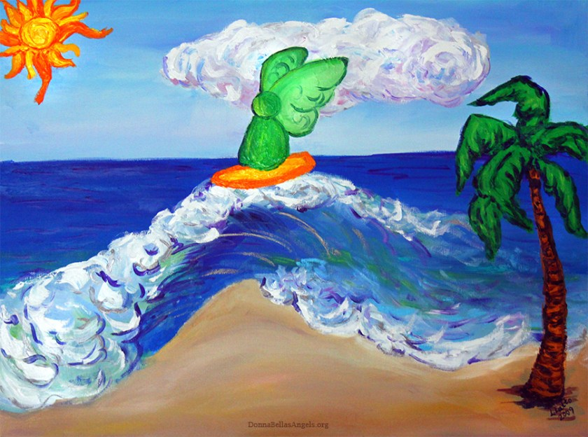 Archangel Raphael Surfing Healing Waves Art Painting