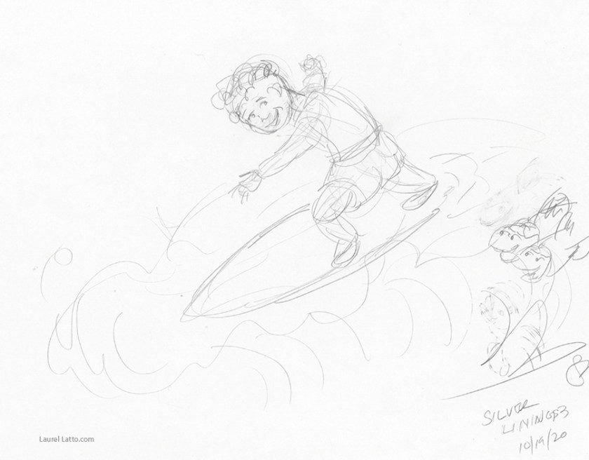 Surfing Silver Linings Narrative Art Illustration (Panel 3 Pencil Sketch)