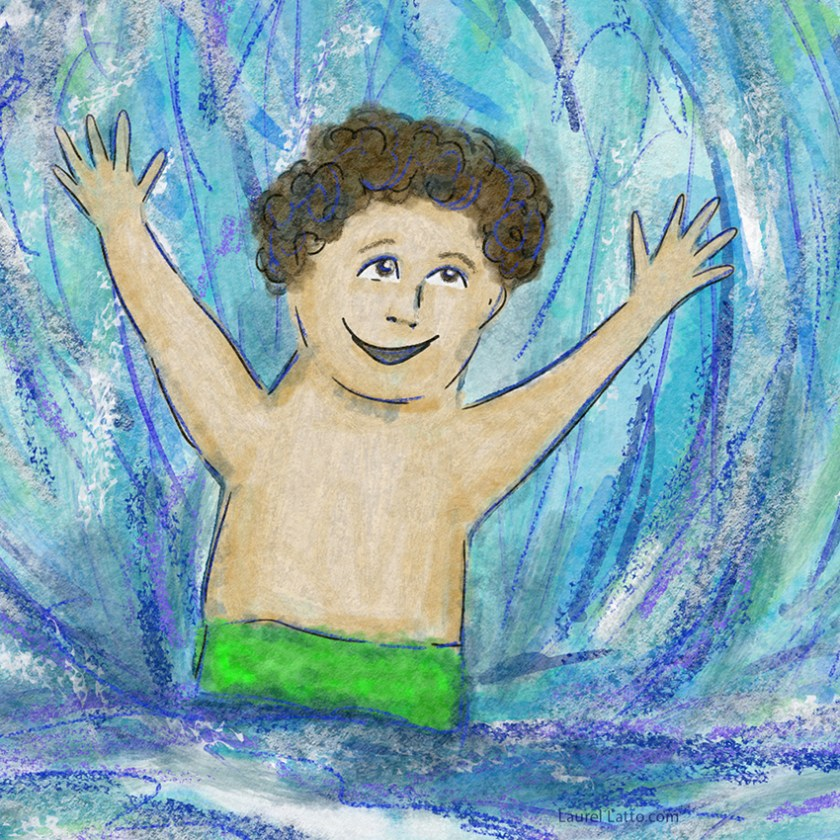Surfing Silver Linings Narrative Art Illustration (Panel 1 Detail)