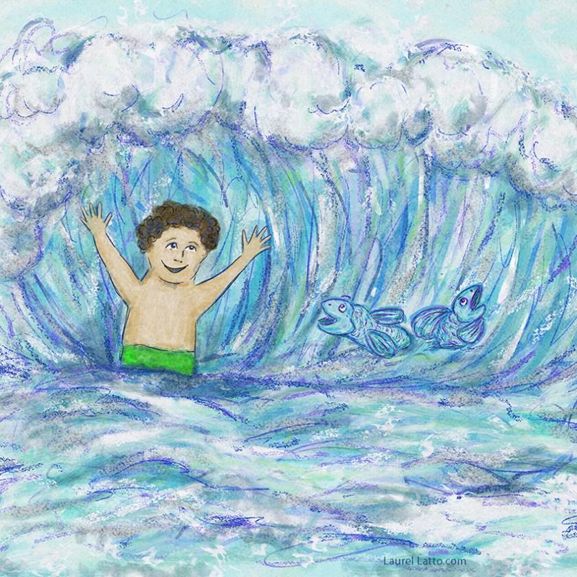 Surfing Silver Linings Narrative Art Illustration (Panel 1 Detail)