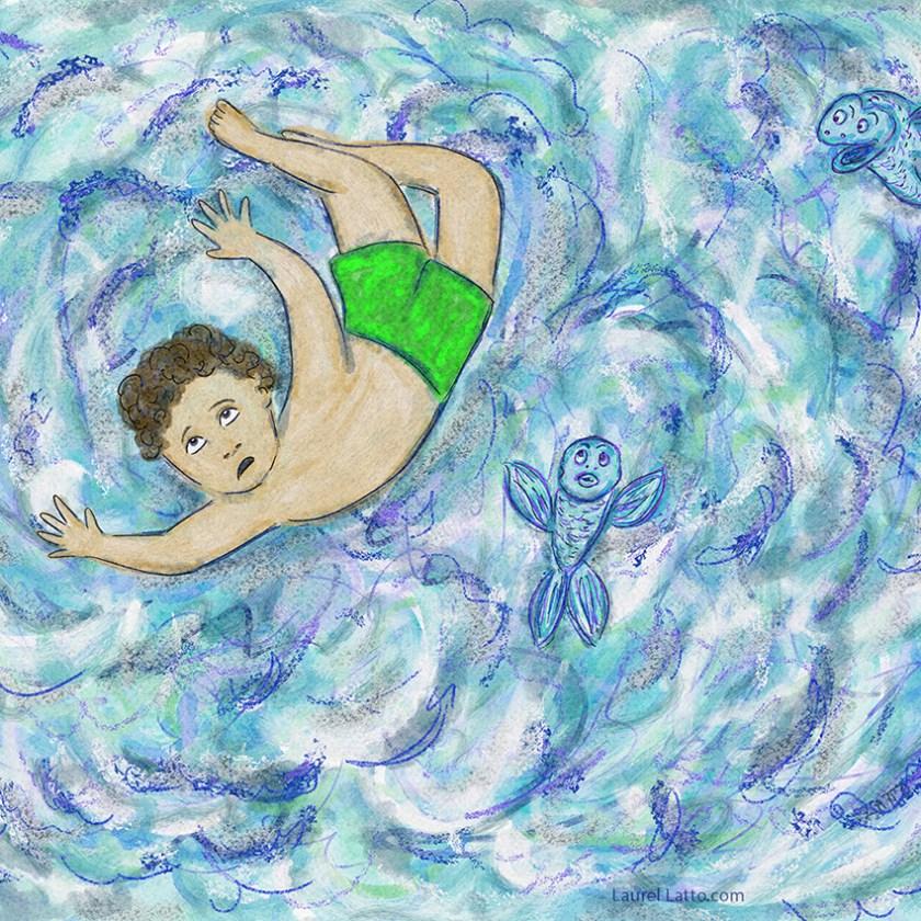 Surfing Silver Linings Narrative Art Illustration (Panel 2 Detail)
