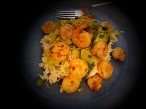 Shrimp and Basil Oil Zucchini Ribbons meal