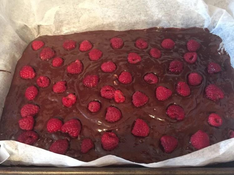 Raspberries in brownies