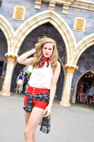A quick look at a classic Mickey Mouse style outfit behind Sleeping Beauty's castle at Disneyland. I matched my white tank, red shorts, and black plaid long sleeve with a Mickey Mouse bandana from Walmart!