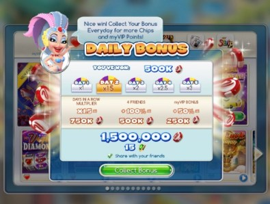 A screenshot of the Facebook Daily Bonus of the myVEGAS games that can get you free rewards while you are in Vegas. No purchases required to get these rewards.