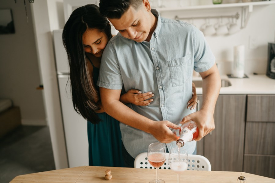 intimate home engagement session