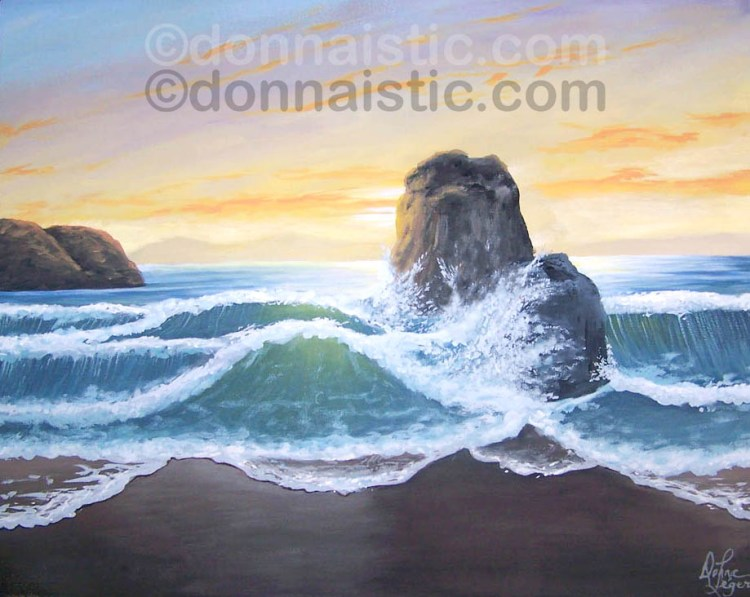 Beach waves splashing against some big rocks at sunset or dawn. Acrylic Painting on Canvas by Donna Léger
