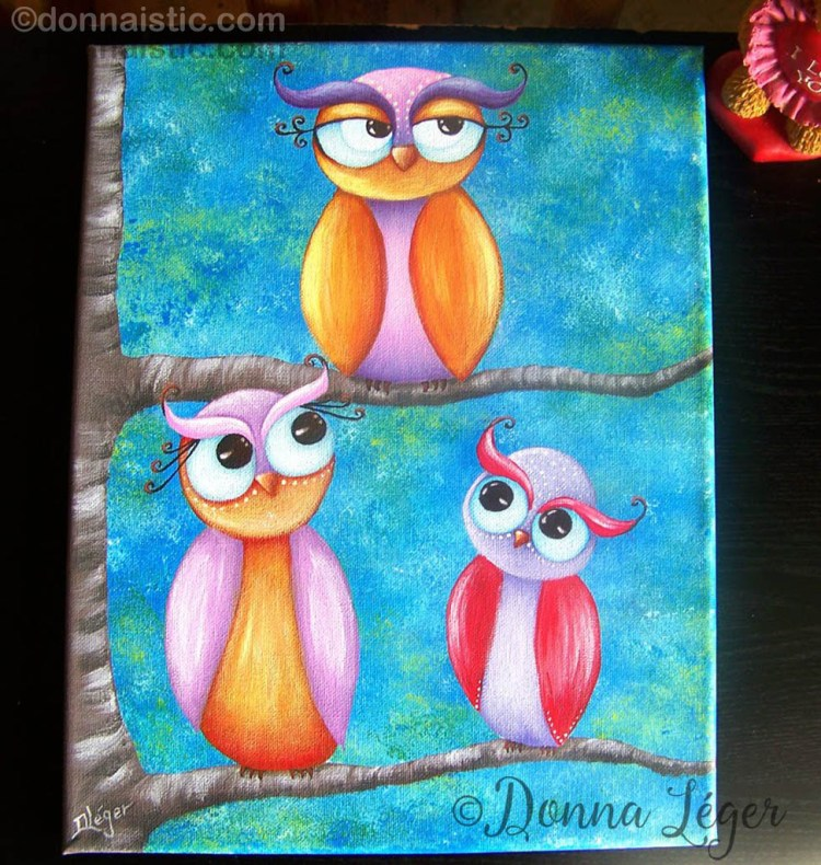 Whimsical owls artwork, Acrylic Painting by Donna Léger