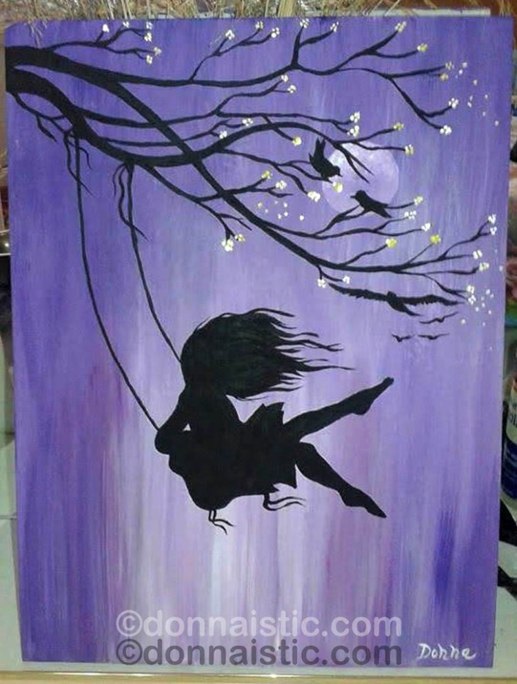 Girl swinging in front of a full moon from A Cherry Blossom Branch. I followed an Art Sherpa video, Acrylic Painting by Donna Léger