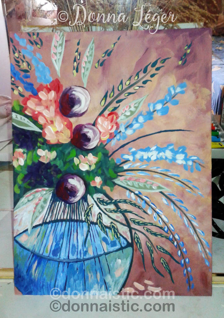 Abstract flowers in a water vase. By following an Art Sherpa video, Acrylic Painting by Donna Léger.