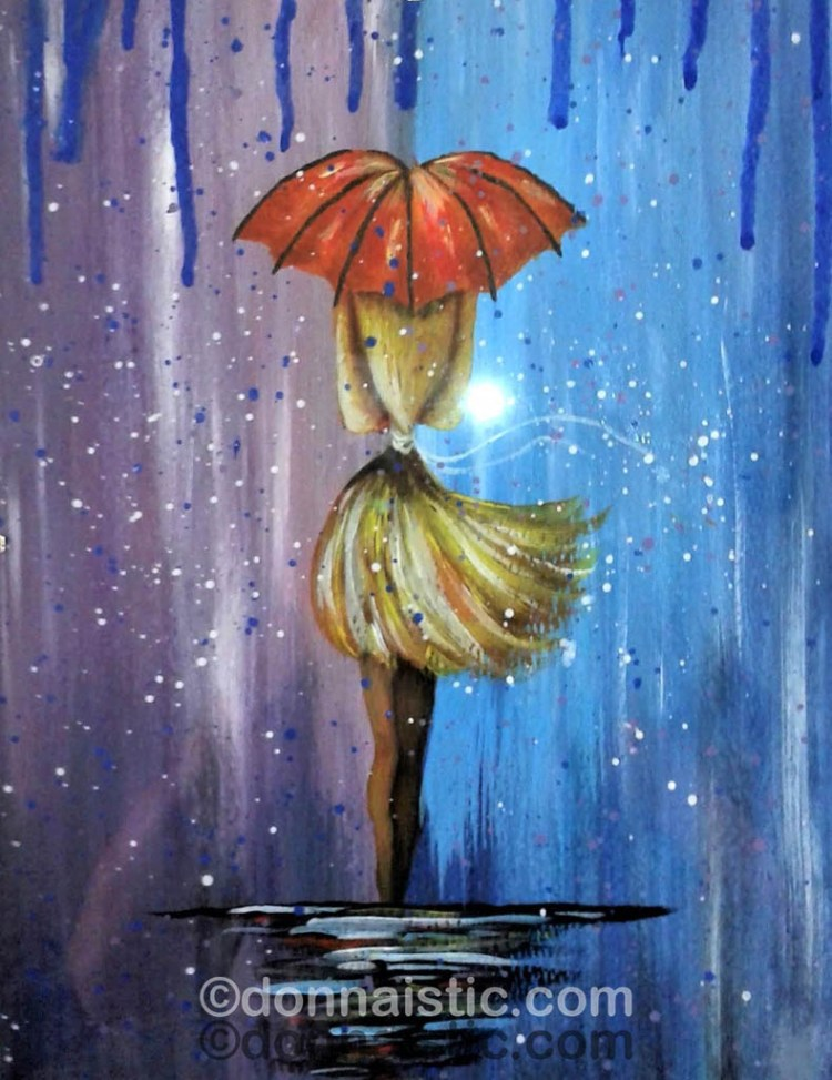 A girl walking in the Rain with a red Umbrella. Followed an Art Sherpa video, Acrylic Painting by Donna Léger.