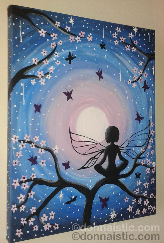 A fairy sitting on a cherry blossom branch surrounded with butterflies on a full moon. Whimsical Artwork. Original Acrylic Painting by Donna Léger. A gift to my cousin's daughter, Kayla.