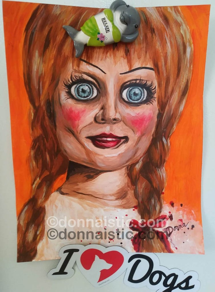 Annabelle the scary supernatural vintage doll from the horror movie film Annabelle. Fan art Acrylic Painting by Donna Léger.