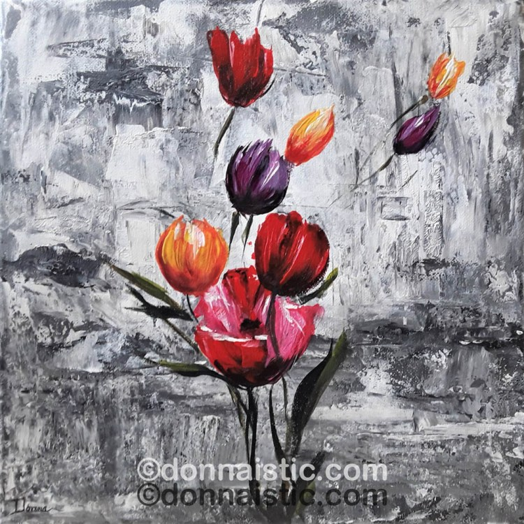 Colorful flowers on a gray background. Abstract Paint Knife Floral.