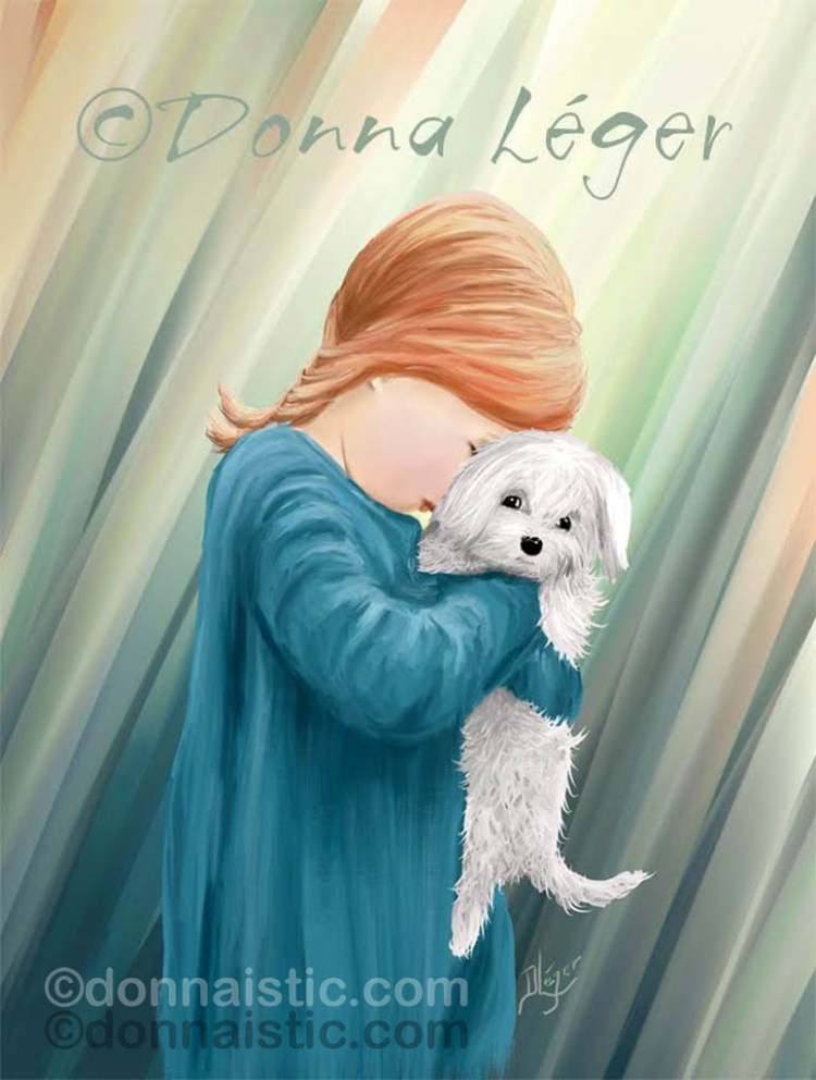 Little girl hugging her cute while puppy dog. Original Digital Art Painting by Donna Léger.