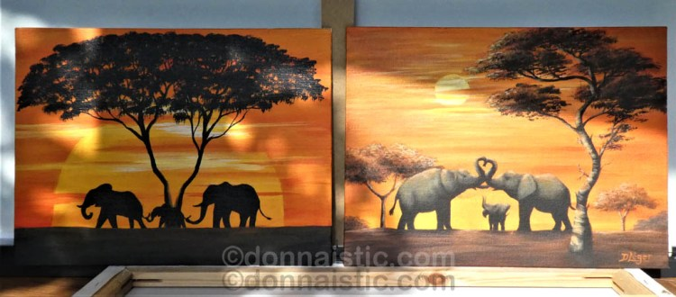 African Elephant family with safari trees with an orange sunset or sunrise. A set of 2. Original Acrylic Painting by Donna Léger.