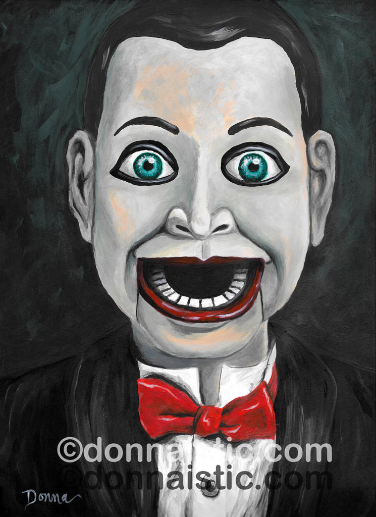 Billy the Dummy from the horror-film Dead Silence. Creepy ventriloquist's puppet Acrylic Painting by Donna Léger