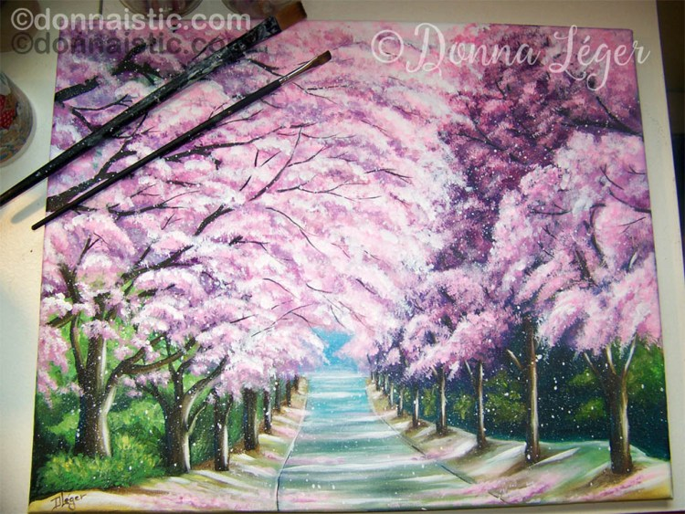 Cherry Blossom trees in full bloom. Acrylic Painting by Donna Léger.