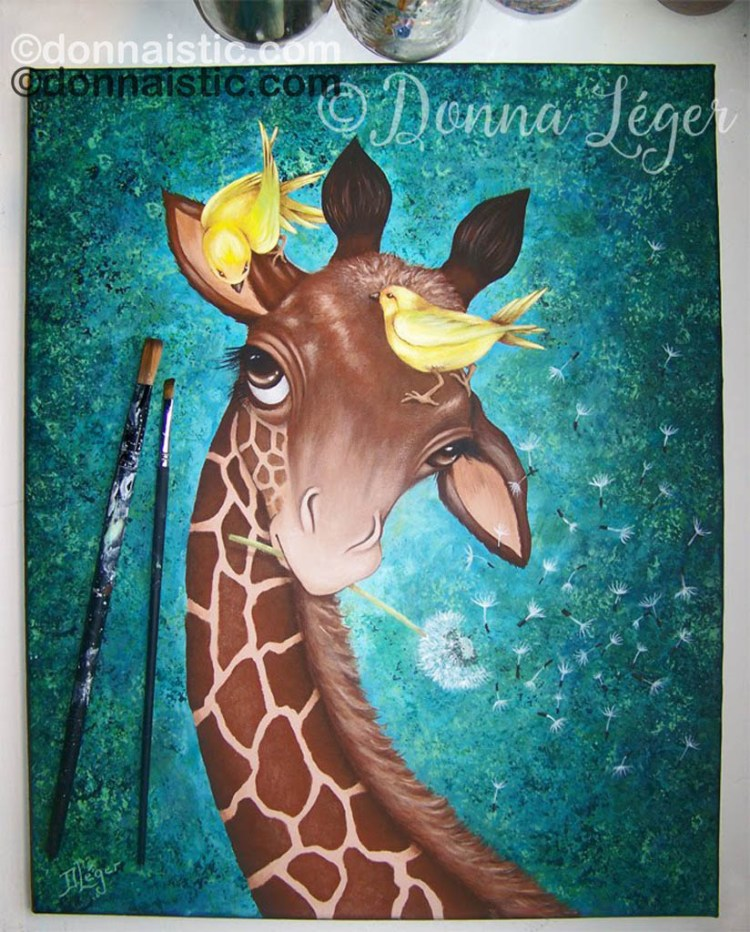 Giraffe with yellow birds and dandelion. Acrylic Painting by Donna Léger.