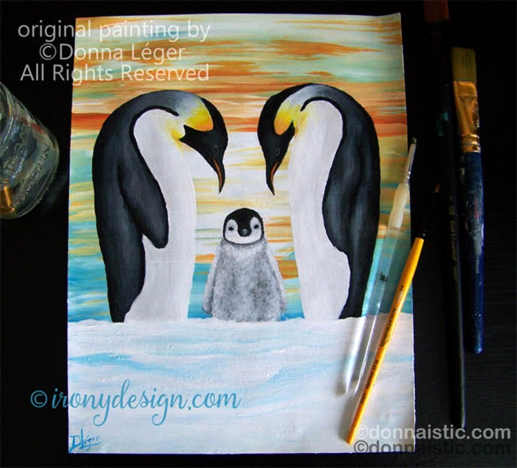 A penguin family with their baby penguin in the middle as his parents watch over him/her. Original Acrylic Painting by Donna Léger.