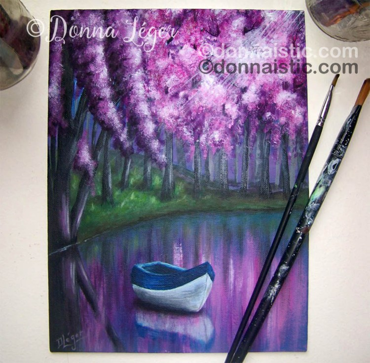 A canoe on a lake with pink and purple trees. Original Acrylic Painting by Donna Léger.