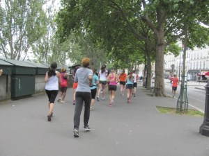 Runners along the River Seine in Paris, France. Photo by Donna L. Long 2014. All rights reserved.