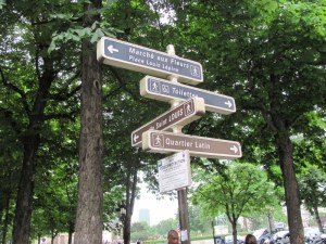 street signs in the Luxembourg Gardens in Paris. Photo by Donna L. Long.