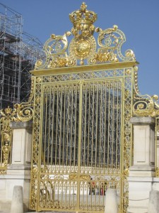 This is one of the front gates at Versailles in France. In the time of the monarchy the gold was real, not so today. Photo by Donna L. Long, 2014. All rights reserved.
