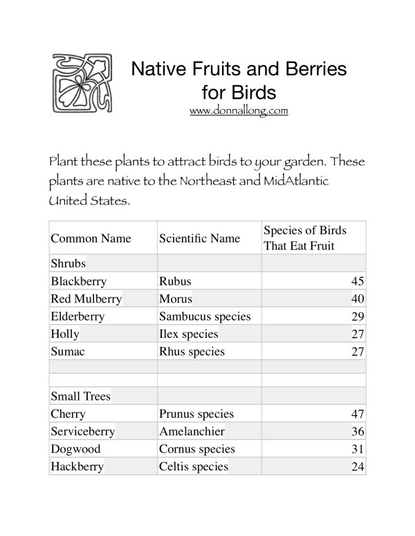Download free pdf list of Mid-Atlantic native plants for attracting birds.