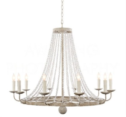 10-Light Chandelier with rustic white finish and crystal beads