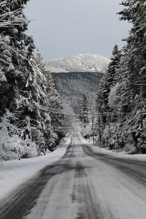 Pratt Road and Mount Elphinstone in winter.