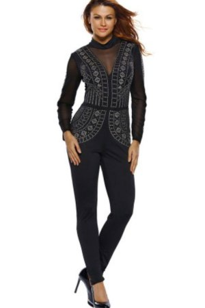 Ricia Long Sleeve Sequins Decor Black Sexy Jumpsuit