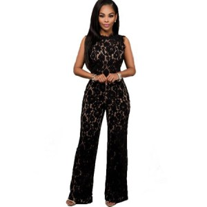 Bree Lace Crochet Zipper Back Sexy Black Jumpsuit