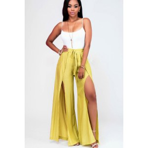 Yellow Spaghetti Straps Front Slit Sexy 2pc Pants Outfit