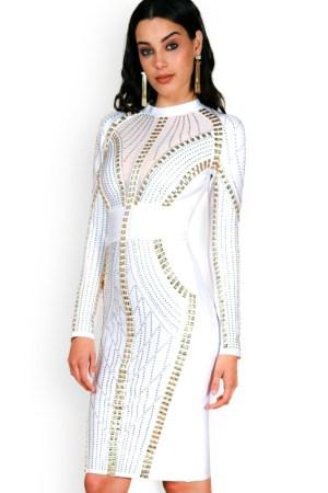 Illusion Long Sleeve Embellished Bandage Dress