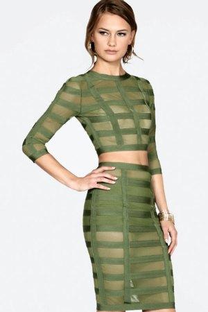 donnard's olive caged bandage 2-piece dress set